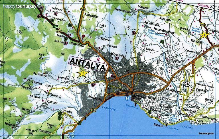 antalya map map of antalya south turkey map